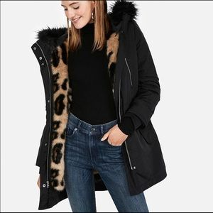 Express 2018 Coat with Removable Leopard Vest